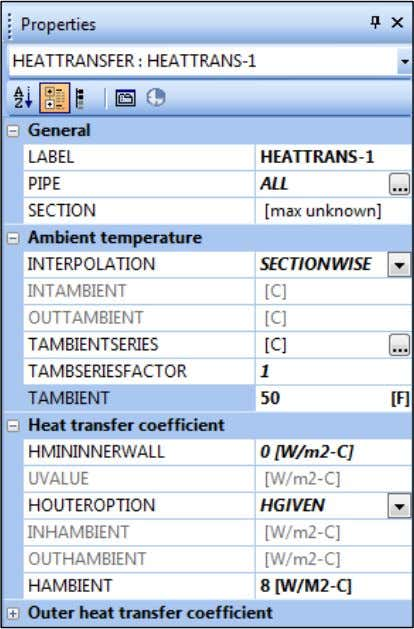 options. TAMBIENT = 50 F HAMBIENT = 8 W/m²/C 2 2 HAMBIENT is the heat transfer