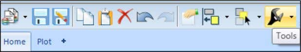 from the Tools menu in the main window Toolbar as shown. Click on the Tools symbol