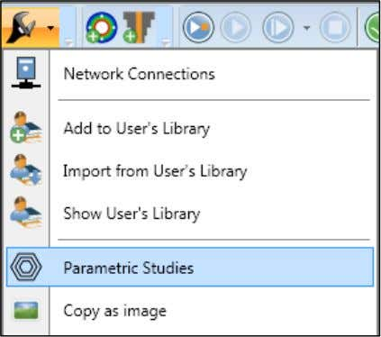 and select Parametric Studies in the drop-down menu: A new tab will open in the main