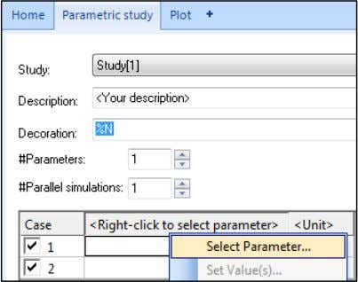 choose 'Select Parameter', which opens up a new window. In the Select Parameter window, click on