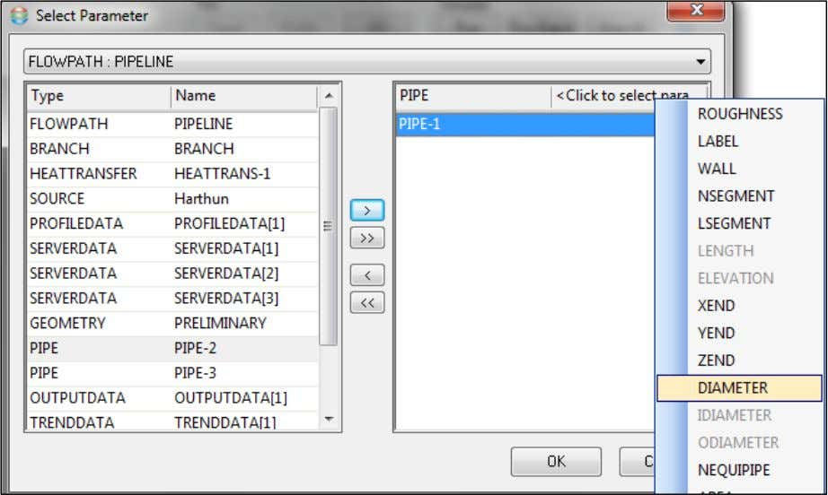 window to conclude the parameter selection process. Once PIPE-1 diameter has been selected, fill in the