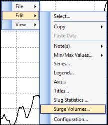 Edit  Surge Volumes … as shown below. The Surge Volume calculator window appears as shown