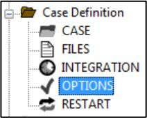 OPTIONS: we use the default values for the current case. OPTIONS define the global calculation options