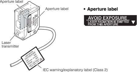 Aperture label Aperture label • Aperture label Laser transmitter IEC warning/explanatory label (Class 2)