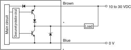 Brown 10 to 30 VDC * Load Blue 0 V * Main circuit Overcurrent protectioncircuit