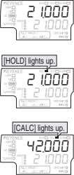 [HOLD] lights up. [CALC] lights up.