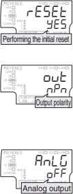 Performing the initial reset Output polarity Analog output