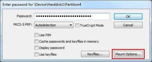 password and before clicking OK, click Mount Options : In the Mount Options dialog window, enable