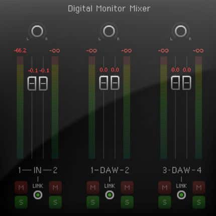 14. Channel faders – control the amount of the relevant signal (input or DAW output