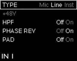 "state (all options except TYPE are ""switch"" functions). Input Mode Menu TYPE – selects Mic, Line"
