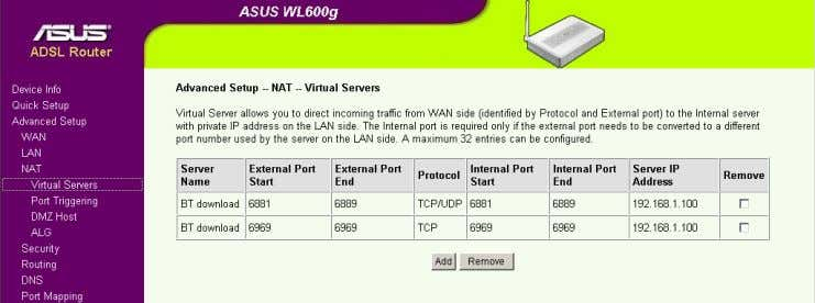 Figure 6 3.3 On WL-700gE Router Setting steps: 1. Enable Virtual Server 2. Fill the