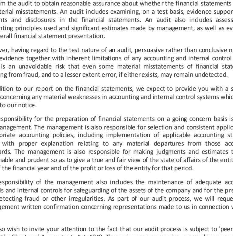 as evaluating the overall financial statement presentation. However, having regard to the test nature of an