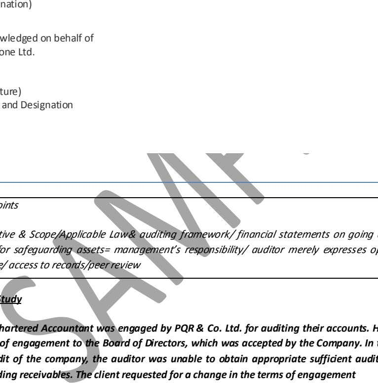 Accountants (Signature) (Name of the Member) (Designation) Acknowledged on behalf of Vodafone Ltd. (Signature) Name and