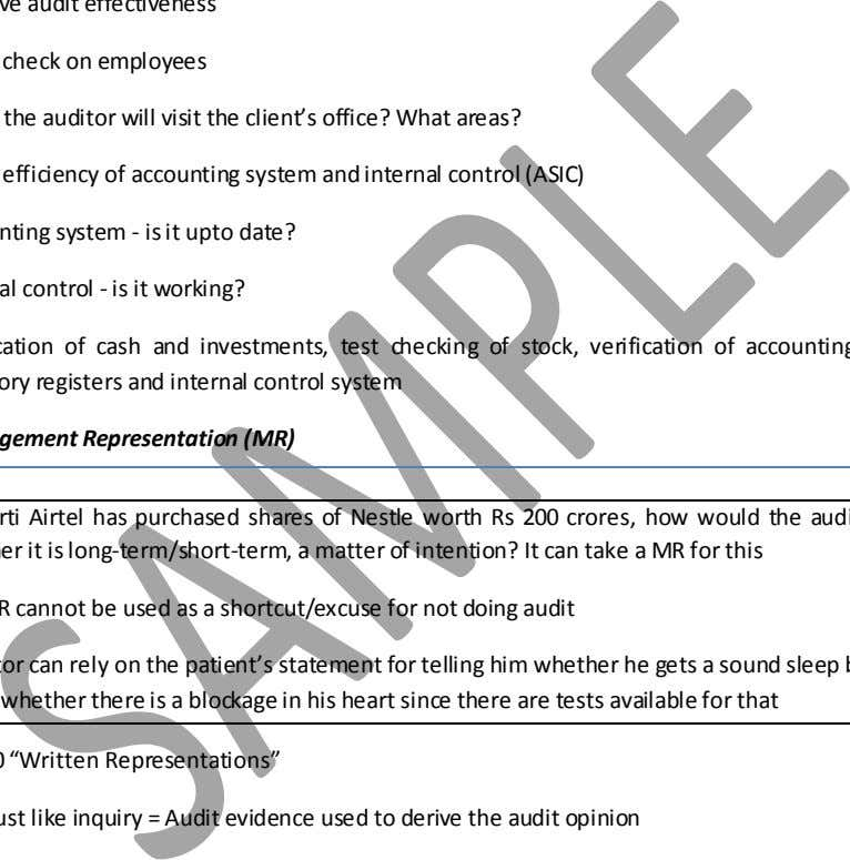 on Surprise Checks (M '05) Improve audit effectiveness Moral check on employees When the auditor will