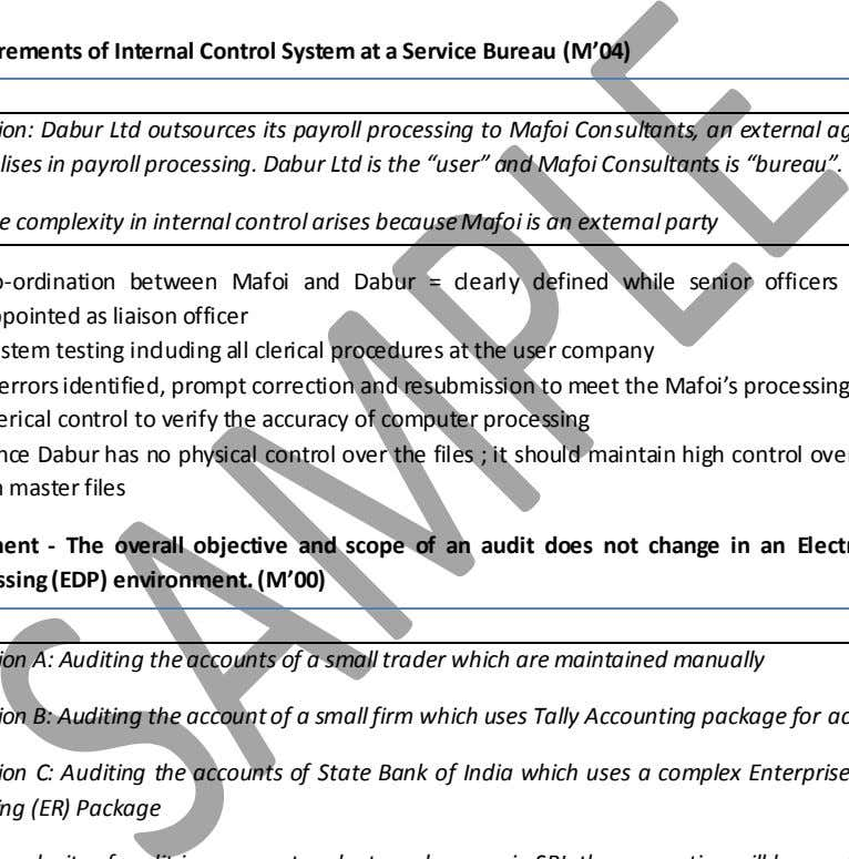 and the Computerised Information System (CIS) Environment Requirements of Internal Control System at a Service Bureau