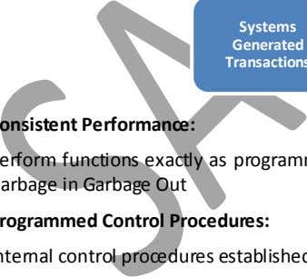 Programme Storage Media Systems Generated Transactions Programmed Control Procedures: Internal control procedures