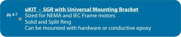 pg. 6-7 uKIT - SGR with Universal Mounting Bracket Sized for NEMA and IEC Frame