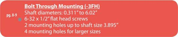"Bolt Through Mounting (-3FH) Shaft diameters: 0.311"" to 6.02"" pg. 8-9 6-32 x 1/2"" flat"