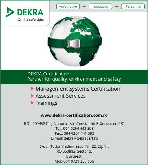 Automotive Industrial Personnel On the safe side. DEKRA Certification: Partner for quality, environment and safety