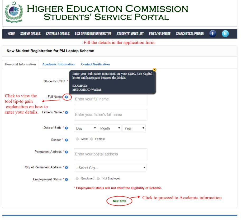 3: Fill in the personal, academic and contact details in the application form for registration as