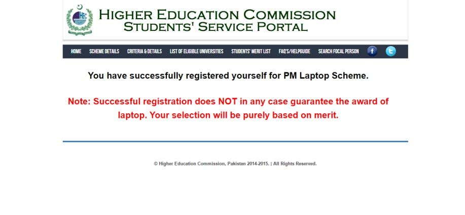You will be notified for your successful registration as shown below: 8
