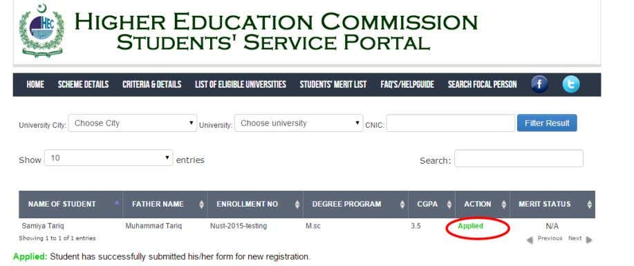 check your application status by entering your University and CNIC details. You will be shown your