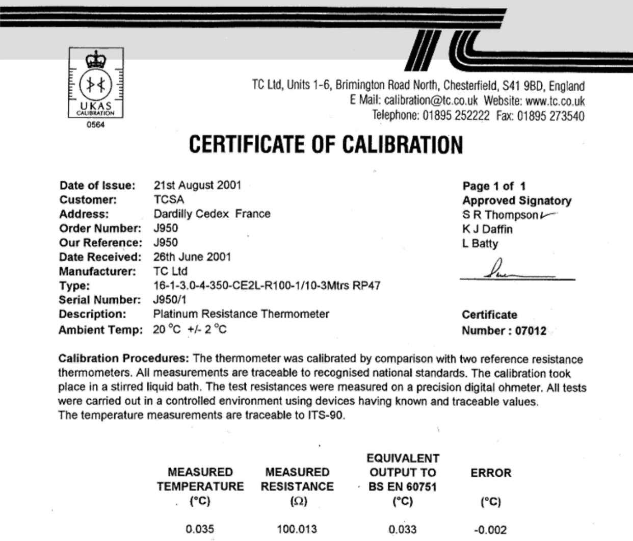 Certificate of calibration of a Platinium Resistance Thermometer IUT Annecy MPh - CB / 2010 Métrologie