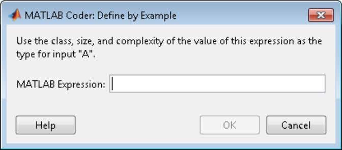 Defining Input Parameters by Example in a Project 4 In the Define by Example dialog box,