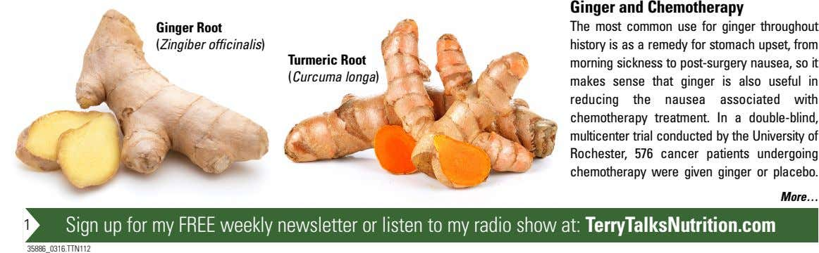 Ginger and Chemotherapy Ginger Root (Zingiber officinalis) Turmeric Root (Curcuma longa) The most common use