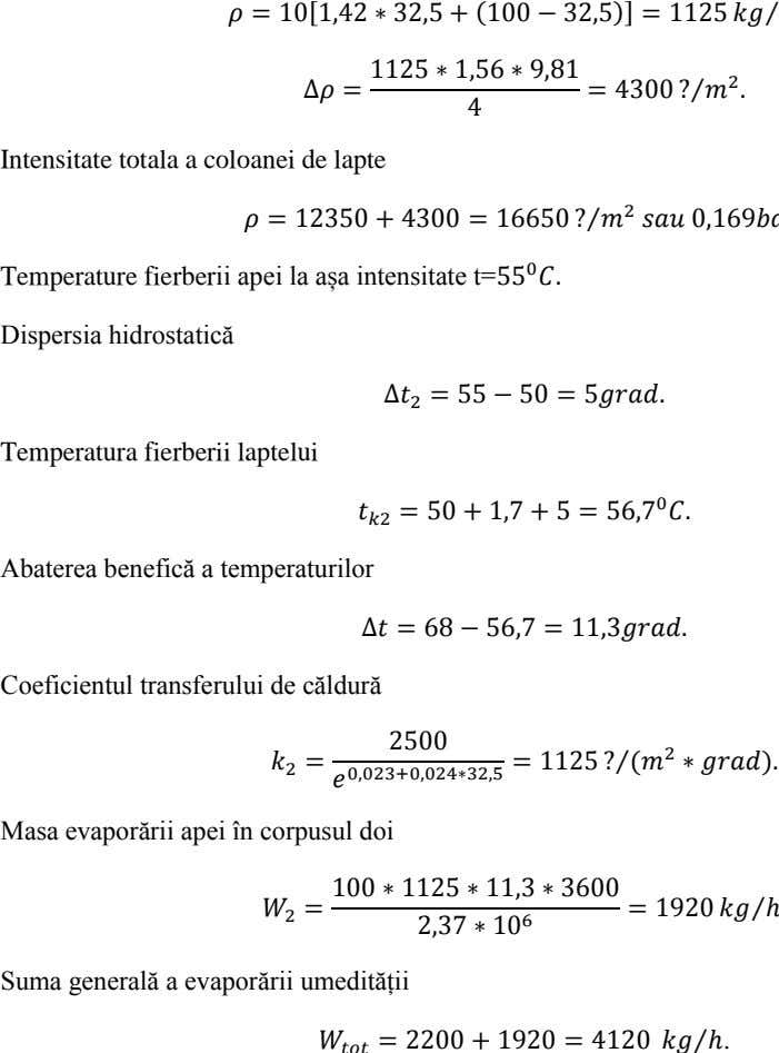 [ ] ⁄ ⁄ Intensitate totala a coloanei de lapte ⁄ Temperature fierberii apei la