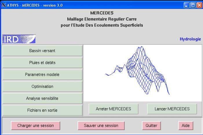 6 menus permettant d'implémenter une session de calcul. Figure 2-18  Basin versant : description du