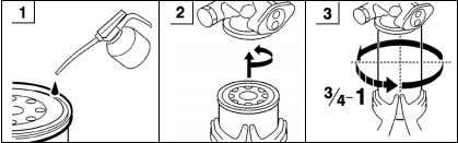 the gasket makes contact with the fuel filter housing. CAUTION Fuel in the old filter must