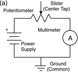 (a) Slider (Center Tap) Potentiometer + Multimeter A Power Supply Ground (Common)