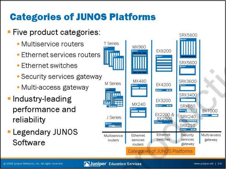 Troubleshooting JUNOS Platforms JUNOS Platform Categories The categories of Juniper Networks JUNOS platforms are as