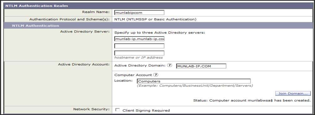 NTLM Authentication  NTLM requires Account in the AD Domain  Credentials to create a computer