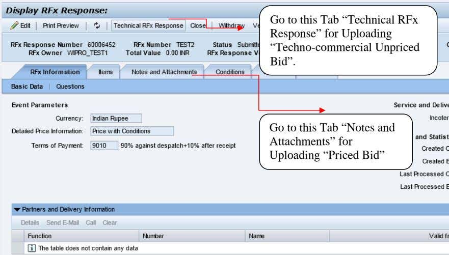 "Go to this Tab ""Technical RFx Response"" for Uploading ""Techno-commercial Unpriced Bid"". Go to this"