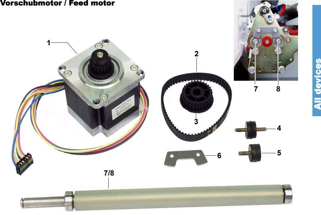 Vorschubmotor / Feed motor 1 2 7 8 3 4 5 6 7/8 All devices