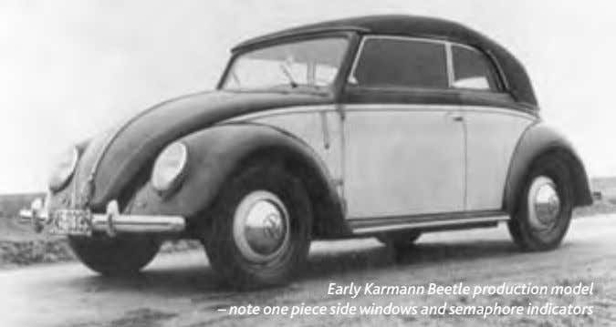 Early Karmann Beetle production model – note one piece side windows and semaphore indicators