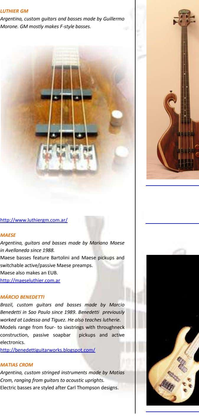 LUTHIER GM Argentina, custom guitars and basses made by Guillermo Morone. GM mostly makes F-style