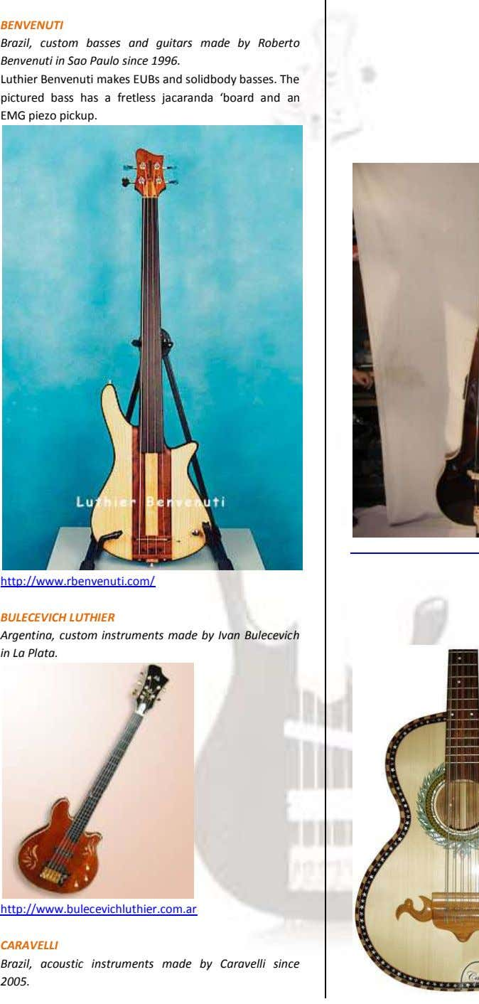 BENVENUTI Brazil, custom basses and guitars made by Roberto Benvenuti in Sao Paulo since 1996.