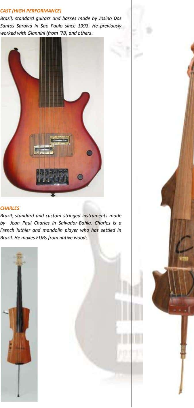 CAST (HIGH PERFORMANCE) Brazil, standard guitars and basses made by Josino Dos Santos Saraiva in