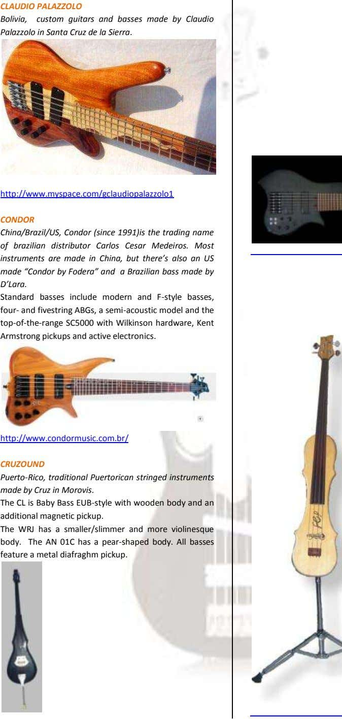 CLAUDIO PALAZZOLO Bolivia, custom guitars and basses made by Claudio Palazzolo in Santa Cruz de