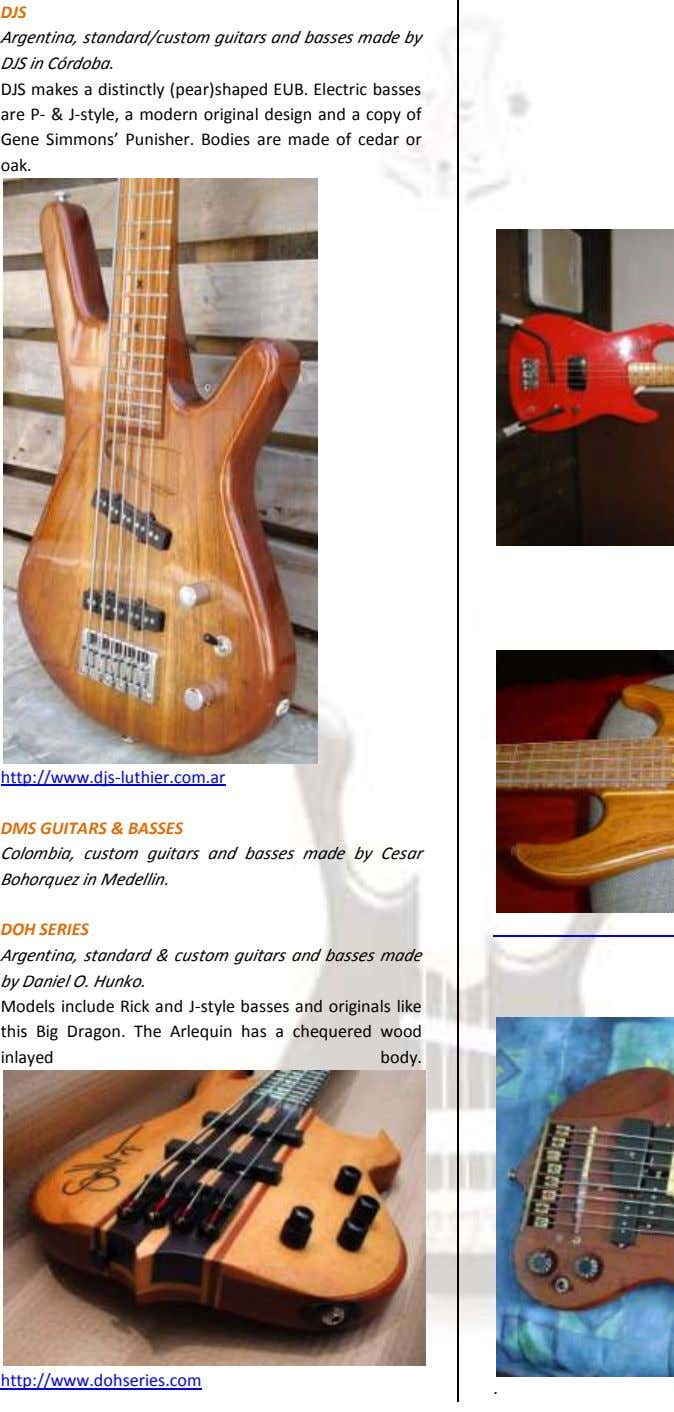 DJS Argentina, standard/custom guitars and basses made by DJS in Córdoba. DJS makes a distinctly