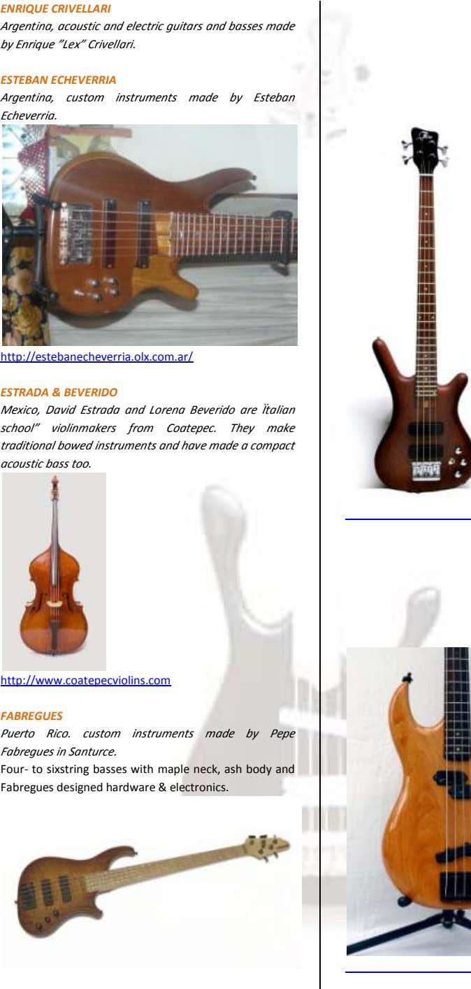 "ENRIQUE CRIVELLARI Argentina, acoustic and electric guitars and basses made by Enrique ""Lex"" Crivellari. ESTEBAN"
