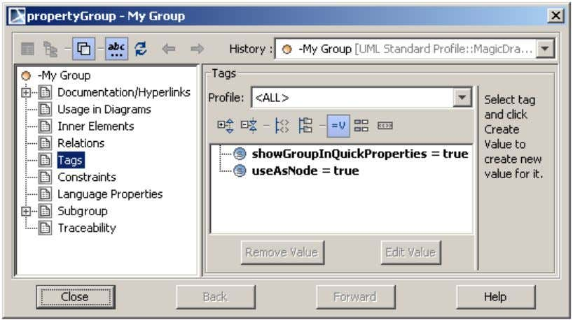 will have the property representing the property group. Figure 6 -- The Tags tab of the