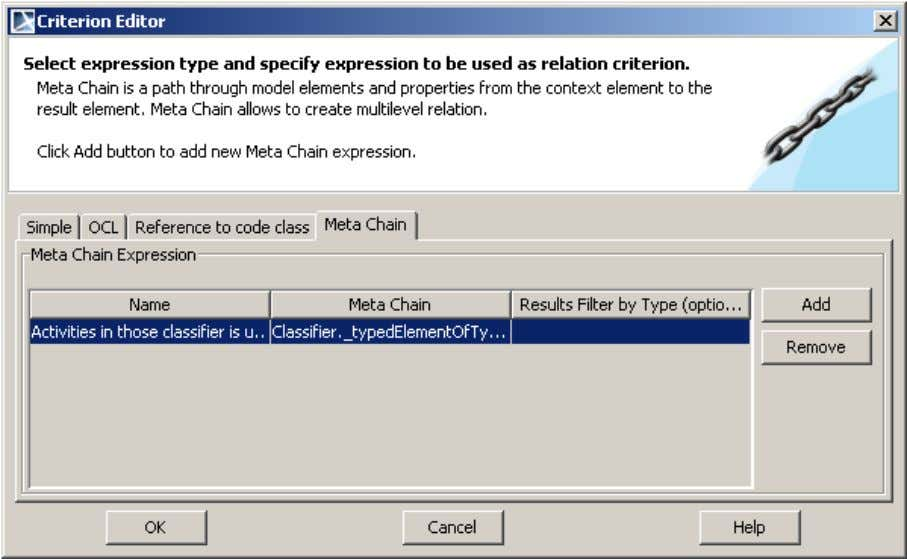 DOMAIN SP ECIFIC CUSTOMIZATIONS DSL Customization engine Figure 26 -- Criterion Editor dialog for defining multi