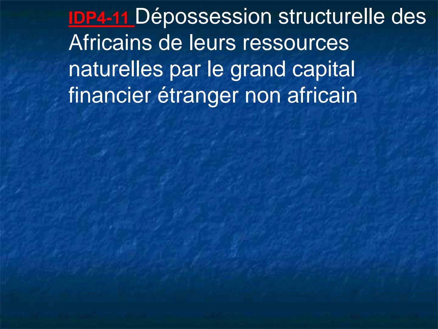 IDP4-11 Dépossession structurelle des Africains de leurs ressources naturelles par le grand capital financier