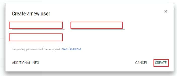 "the primary email address to ""IN-SESSION@yourdomain.com."" Tap ""CREATE."" FIGURE 2-27. CREATE A NEW USER SCREEN 18"