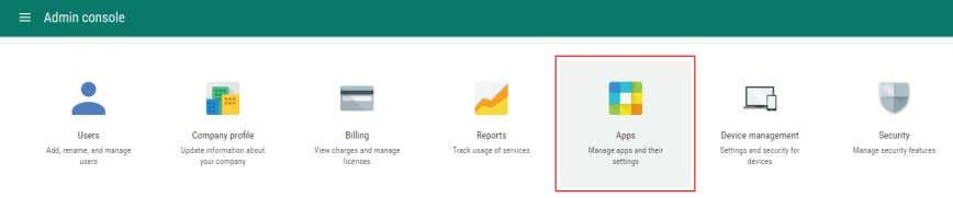 "log in to your Google Apps for Work administrator account. Then select the item ""Apps."" FIGURE"