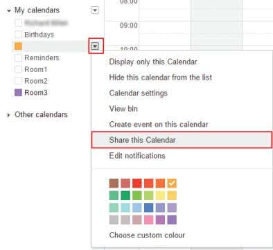 "of the calendar. It will expand the list of options. Select ""Share this calendar."" FIGURE 2-39."